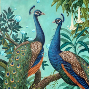 Peacocks square art print