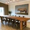 Black rhino print on wall