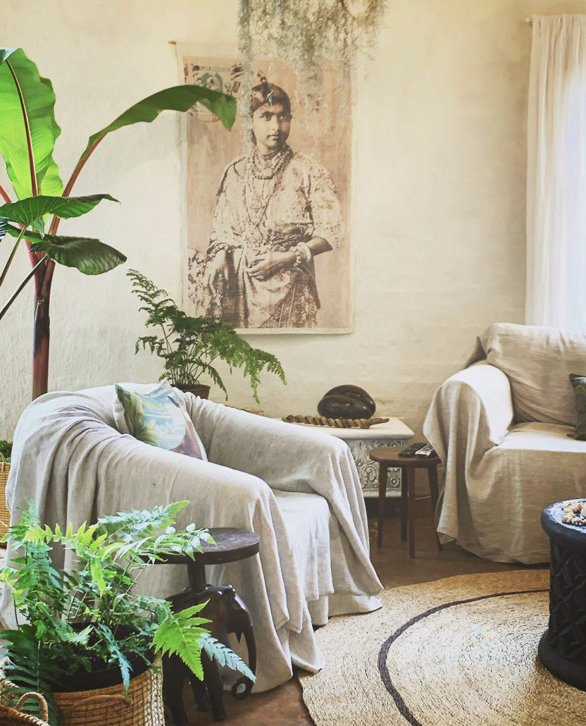Harem Lounge with linen couches and plants