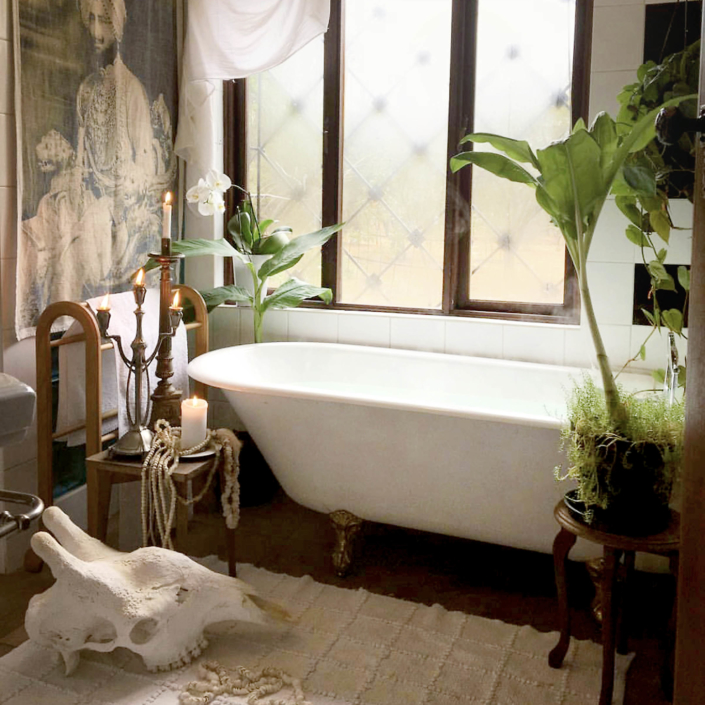 Harem bathroom with plants and wall hanging