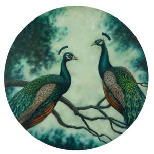 Peacocks round art print